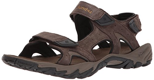 Columbia Men's Santiam 3 Strap Sport Sandal, Cordovan, Dark Banana, 14 Regular (Columbia Suede Sandals)