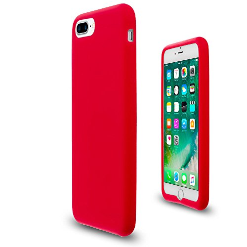 Red Soft Silicone Rubber Case Flexible Skin Jelly Cover for iPhone 7 + 8 Plus