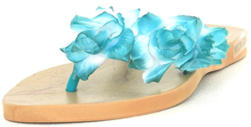 Womens Multi Color Jelly Flip Flop Thong Sandal Beach Slipper Equa Shoe Terquise Flower Yg6MA