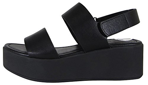 Cambridge Select Mujeres Open Toe 2 Correa Slingback Velcro Chunky Plataforma Cuña Sandalia Pu Negro