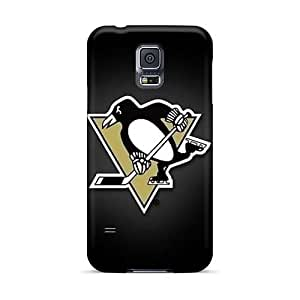 Durable Cell-phone Hard covers cases for Happy Christmas and Happy New Year For Samsung Galaxy S5 With Customized Beautiful Pittsburgh Penguins Image 88bestcase