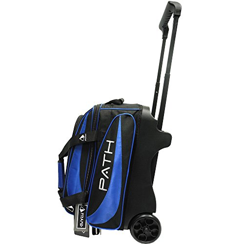 Pyramid Path Premium Deluxe Double Roller Bowling Bag (Black/Royal Blue)