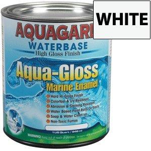 Aquagard Aqua-Gloss Waterbased Hi-Gloss Marine Top Side Enamel Paint White Quart (Enamel Hi)