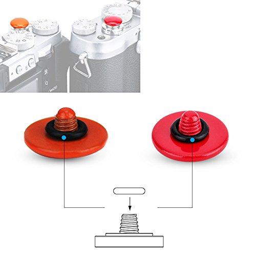 Camera Soft Release Button JJC Red & Orange Shutter Button for Fuji Fujifilm X-T2 X-T20 X-T10 X-PRO2 X-PRO1 X100F X100T X100S X100 X-E3 X-E2S X-E2 Sony DSC-RX1R II DSC-RX10, etc -