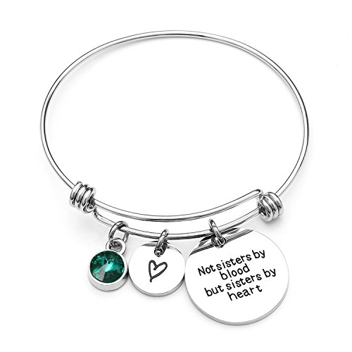Angel's Draw Home Best Friends Bracelets- Not Sisters By Blood But Sisters By Heart Charm Bracelet- Sister Jewelry- Friend Jewelry- Perfect Gift for Friends (05-May-Emerald) by Angel's Draw Home