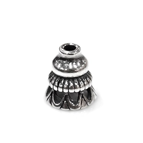 Dreambell 2 pcs Bali 925 Sterling Silver Round Flower Cone Bead Cap 5mm / Findings / Antique