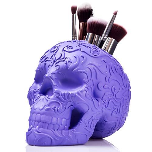 (Skull Makeup Brush Holder/Pen Holder/Vanity Desk Office Organizer Stationary Decor Planter)