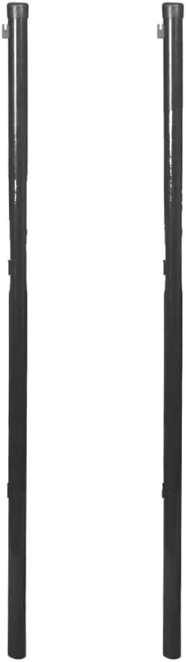 vidaXL 2x Postes de Valla Malla Metálica 115 cm Gris Estaca Cerca Reja Cercado