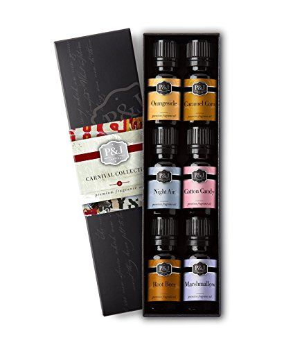 Carnival Set of 6 Premium Grade Fragrance Oils - Cotton Candy, Night Air, Marshmallow, Orangesicle, Root Beer, and Caramel Corn