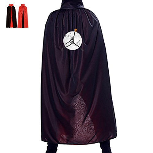 Halloween Witch Accessory Cape Reversible Costumes Print With Pumpkin Moon For Adult Spoof In Christmas (Black) (Diablo 3 Wizard Costume)