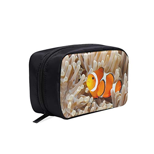 (Clown Fish Anemone And Clown Portable Travel Makeup Cosmetic Bags Organizer Multifunction Case Small Toiletry Bags For Women And Men Brushes Case)