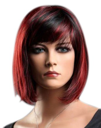 Kalyss Women's Short black red Hair Wigs