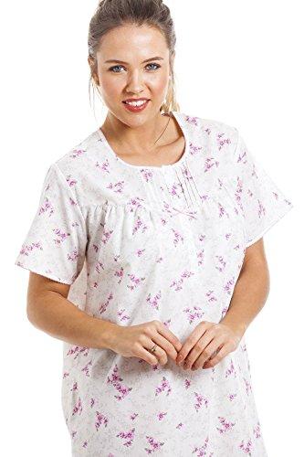 Camisón de manga corta - Con bajo hasta las rodillas - Estampado floral rosa - Blanco BLANCO