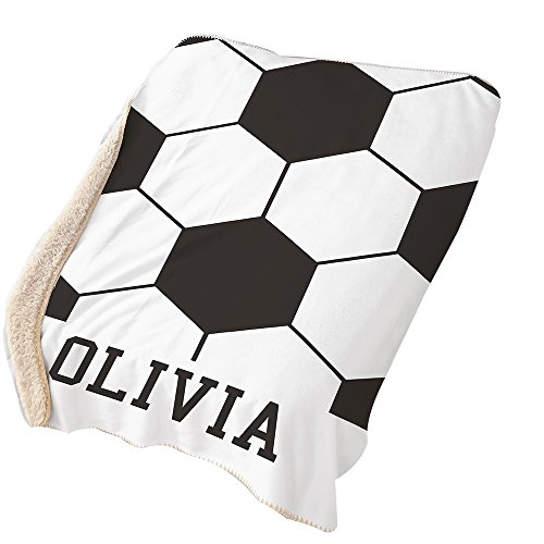 GiftsForYouNow Soccer Personalized Sherpa Blanket