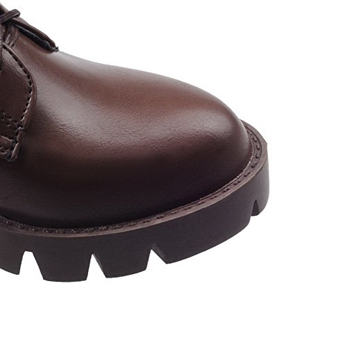 AllhqFashion Womens Round Closed Toe Low-Top Kitten-Heels Solid PU Boots with Knot Brown vA7QdRwR
