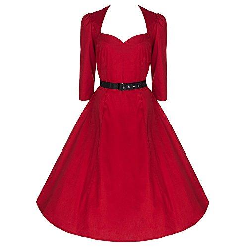 Pretty Kitty Fashion 50s Rote 3/4 Arm Swing-Kleid mit Gürtel