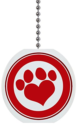 Red Paw Print with Border Solid Ceramic Fan Pull