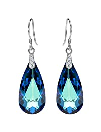 EleQueen 925 Sterling Silver CZ Teardrop French Hook Dangle Earrings Bermuda Blue Adorned with Swarovski® Crystals