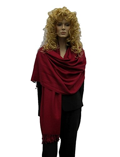 Scarf/Shawl/Wrap/Stole/Pashmina Shawl in solid color from Cashmere Pashmina Group (Regular Size) - Bordeaux
