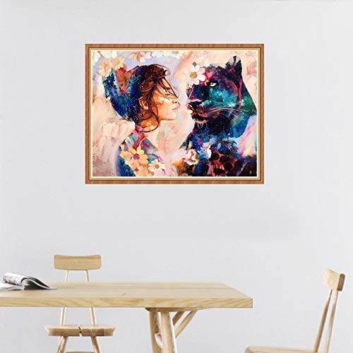 5D DIY Diamond Painting Full Square Drill Beauty and Panther Rhinestone Embroidery for Wall Decoration 20x28 Inch