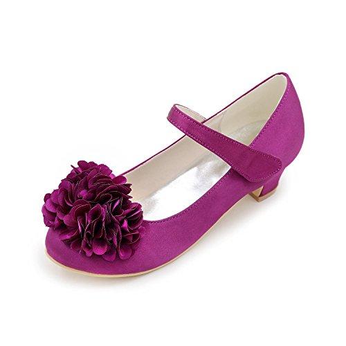 Blanc Printemps Chaussures à Hiver Talons Bas Satin Fille L Talon Décontracté purple Eté Fleur YC automne wxq6WU