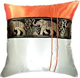 SALE 70% OFF Artiwa Orange & Cream Throw Decorative Silk Pillow...