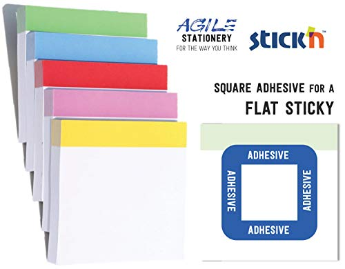 Pro Stickies Super Sticky Notes with Square Adhesive - 76x76mm - Assorted Colours - by Agile Stationery & Stick'n