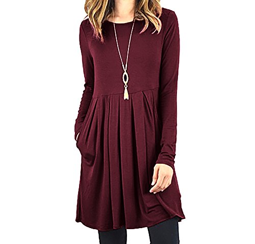 Fanfly Womens Pleated Swing Dress Long Sleeve Casual T Shirt Dress With Pockets Maroon X-Large