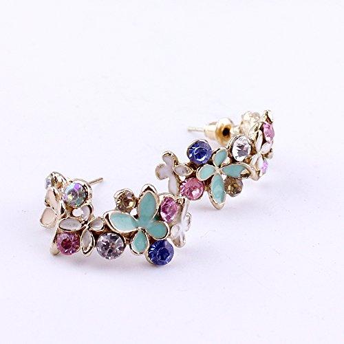 (EYX Formula Women Lady Elegant Crystal Semi-Circle Earrings,Rhinestone Butterfly Butterflies Temperament Earrings for Daily Wearing)