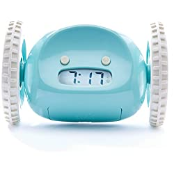 CLOCKY the Original Runaway Alarm Clock on Wheels: Get Out of Bed and Wake Up on Time with Programmable Snooze | Jumps Off Night Stand and Rolls Away (Extra Loud for Heavy Sleepers), Aqua