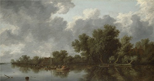 (Polyster Canvas ,the High Quality Art Decorative Prints On Canvas Of Oil Painting 'Salomon Van Ruysdael River Scene ', 8 X 15 Inch / 20 X 38 Cm Is Best For Nursery Decoration And Home Decoration And Gifts)