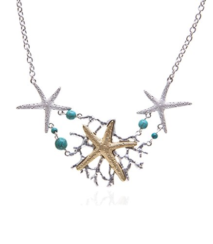 INPINK Fashion Jewelry Atlantis Starfish Bib Necklace and Earrings Set in Silver-Tone