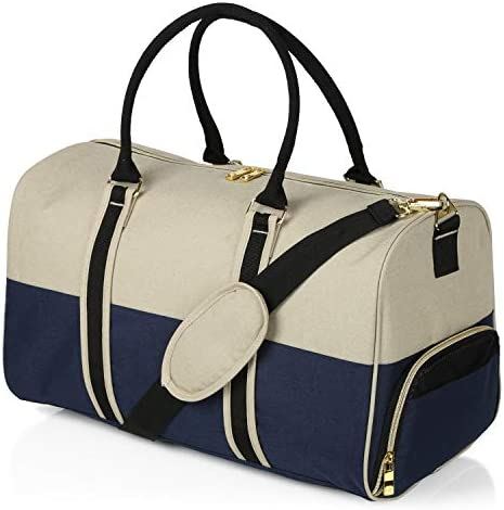EleSac Canvas Style Duffel Bag for Men and Women with Shoe Compartment Weekend Bag for Gym Overnight Baggage, Gold-Navy