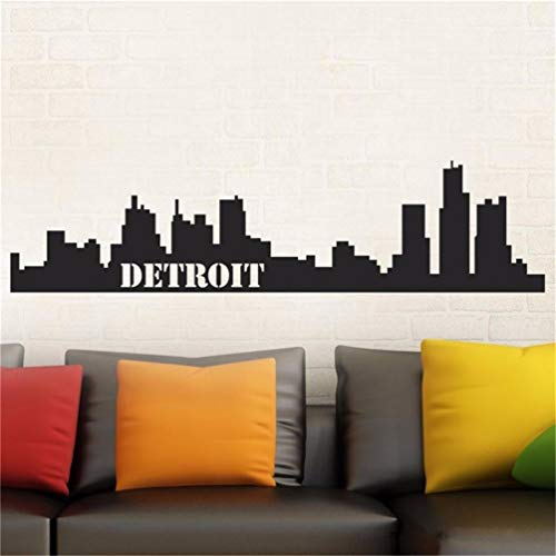 Tuwios Removable Vinyl Decal Art Mural Home Decor Wall Stickers Children's Room Detroit Skyline Easy Instant Modern Home Decor Decal ()