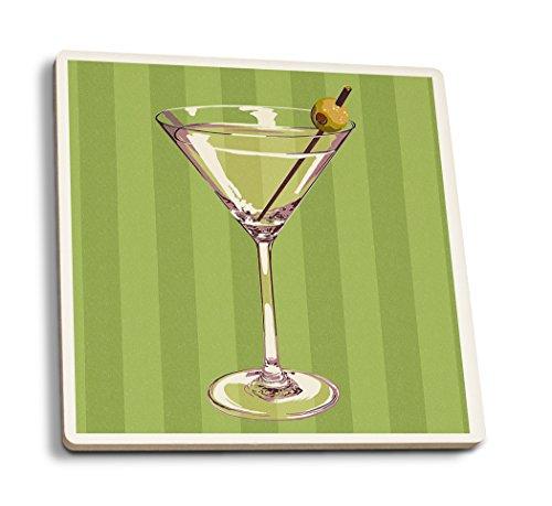 Martini Glass - Letterpress (Set of 4 Ceramic Coasters - Cork-Backed, Absorbent)