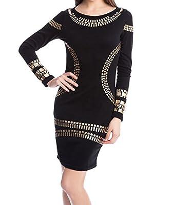 L'ALYSSE Women's Cut out Long Sleeves Kim Egypt Gold Foil Print Cocktail Dress