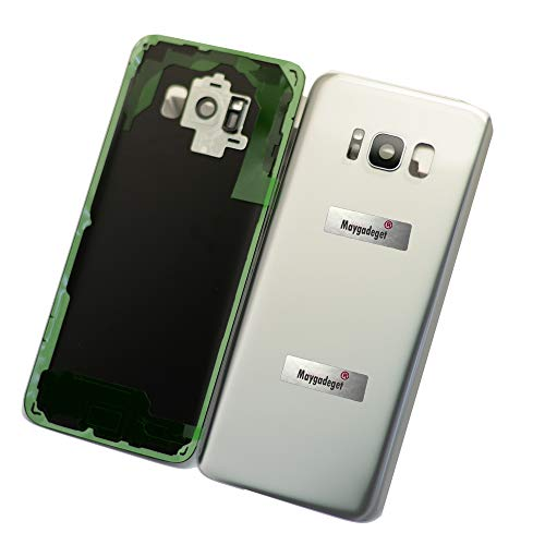 New Maygadget for Samsung Galaxy S8 5.8 G950 Rear Panel True Glass Back Cover Housing Replacement W/Waterproof Adhesive,Rear Camera Cover Lens&Flash Diffuser-Silver