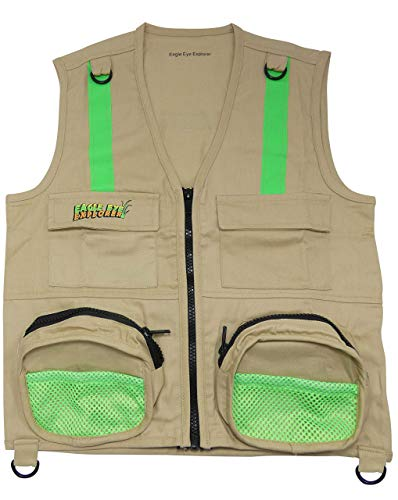 M/L Combination Set: 1 Tan Cargo Vest for Kids with Reflective Safety Straps - 1 Floppy Bucket Hat with Chin Strap - 1 8x21 Power Binoculars with Soft Rubber Eye Piece, Waterproof & Shcok-Resistant by Eagle Eye (Image #1)