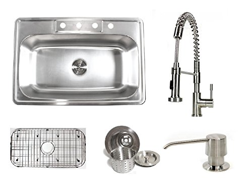 33 Inch Stainless Steel Top Mount Single Bowl Kitchen Sink and Ariel Coil Style Faucet Combo (Bottom Mount Kitchen Faucet)