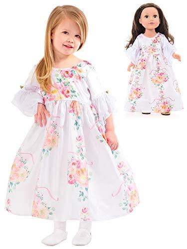 Little Adventures White Floral Princess Dress Up Costume & Matching Doll Dress (Medium Age 3-5) ()