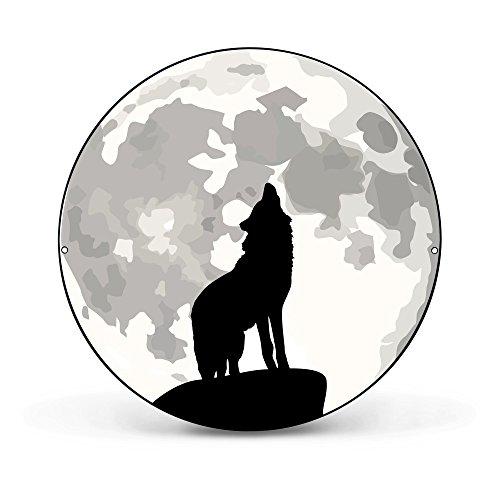 banjado - runde Magnettafel Pinnwand aus Stahl schwarz oder weiß lackiert 47cm Ø mit Motiv Heulender Wolf SW, Magnettafel rund schwarz