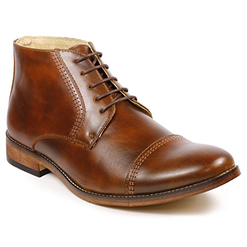Mens Brown Dress Boots - Metrocharm MC115 Men's Lace Up Cap Toe Dress Ankle Chukka Boots (12, Brown)