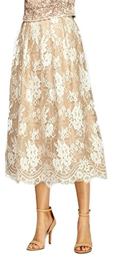 Kay Unger Women's Floral Lace A-line Scalloped Hem Midi Skirt in Multi Size 6