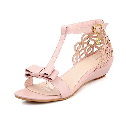 Susanny Ankle Buckle Strap Bowknot Women Wedge Sandals Elegant Summer Pink Open Toe Dress Shoes 6.5 B (M) US