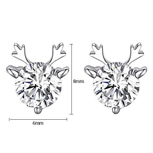 Deer /& Princess 925 Plated Sterling Silver Deer Cubic Zirconia Stud Earrings