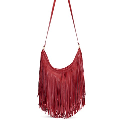 Messenger Wine Body GN60222 Shoulder Ladies Cross Fringe Handbag Bag Women's Red Tassel qT16xUw04