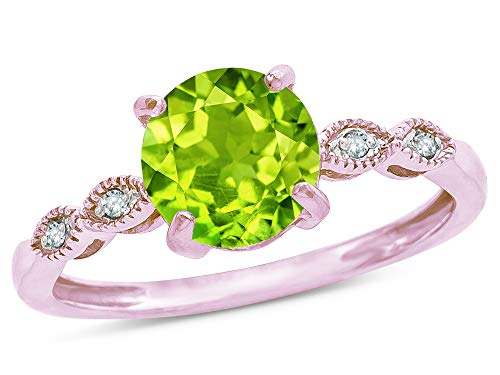 Star K Round 7mm Genuine Peridot Vintage Antique Look Engagement Promise Ring 10 kt Rose Gold Size 5