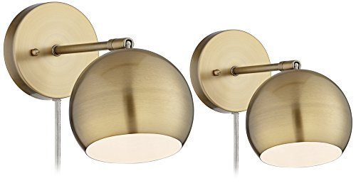 Antique Brass Sphere Shade Pin-Up LED Wall Lamps Set of 2 by 360 Lighting