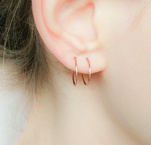 Tiny Hoops 14k Gold Filled Simple Classic and Minimalist Sleeper Jewelry Handmade ()