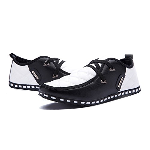 Rainlin Heren Casual Ademende Casual Instappers Lace-up Platte Schoenen Zwart